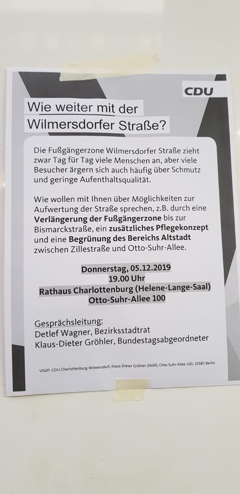 Aushang und Einladung zur Diskussion der CDU Berlin