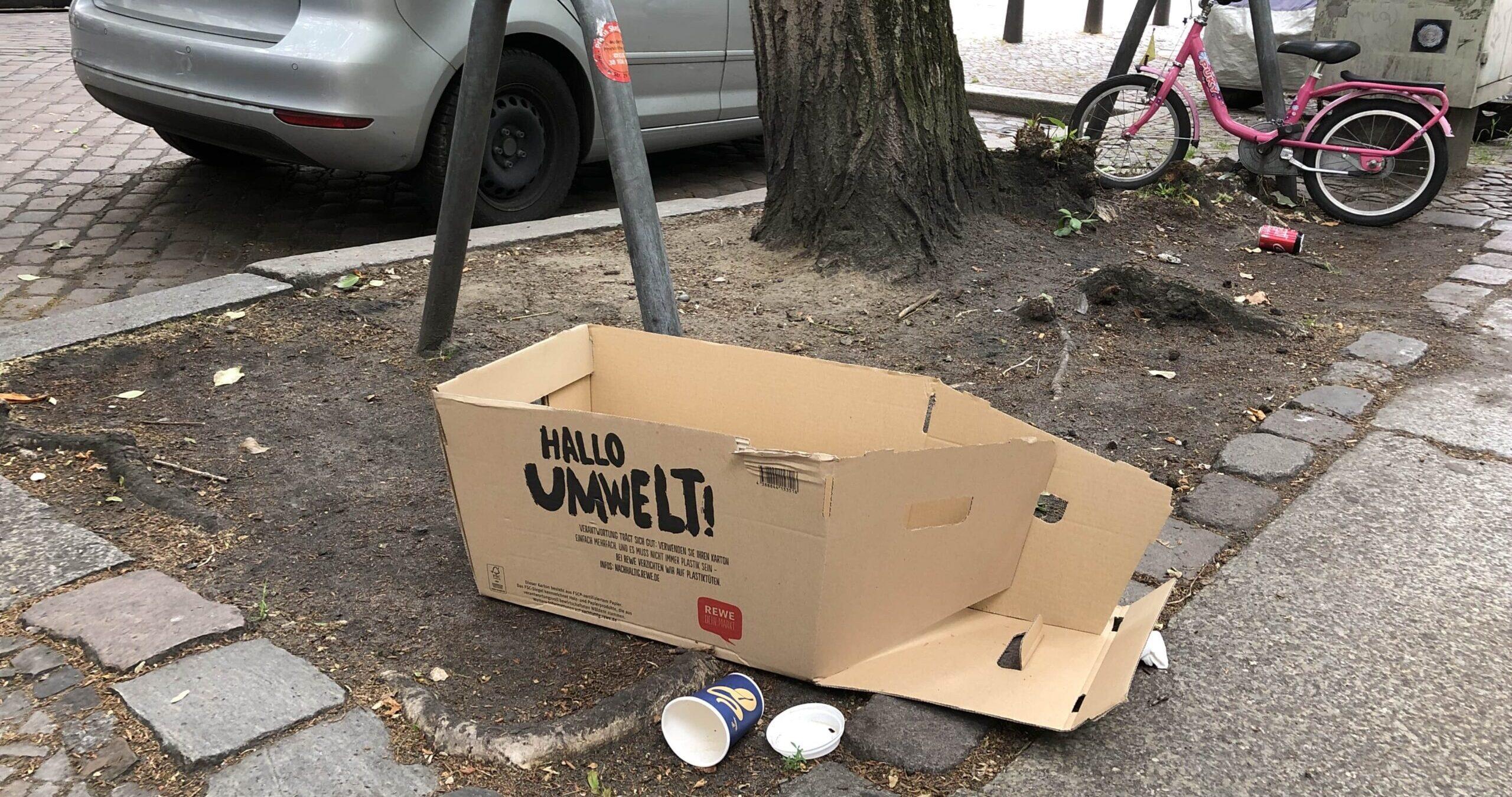 Müll an Baumscheibe